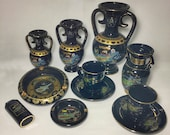 Handmade Ancient Greek-Cyprus Ceramics Set, Rare Vintage Archaic Plates collection, Vintage Vase, Amphorm, Ancient greek pottery