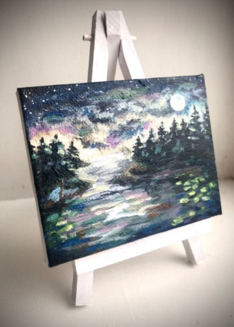 Handmade Personalized Mini Landscape Painting with Easel Included Gift, Tiny, Modern Art, Fun, Expressionism, Original, Custom, Canvas