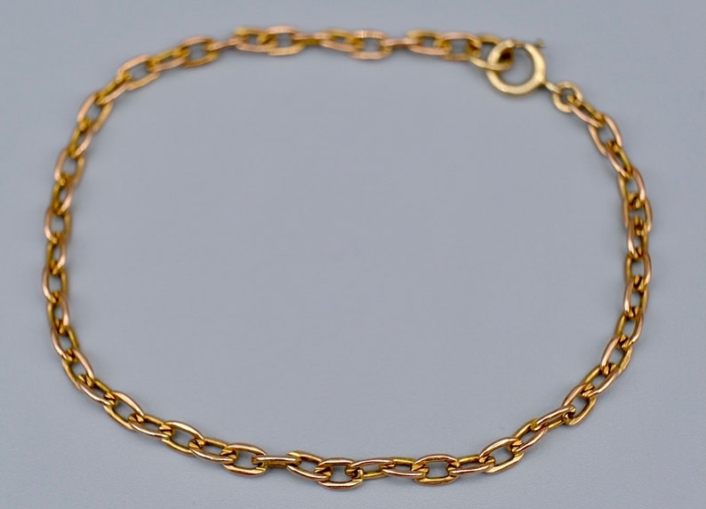 Could be used to add charms or worn as everyday bracelet. Vintage 9ct rose gold fine belcher link bracelet circa 1970