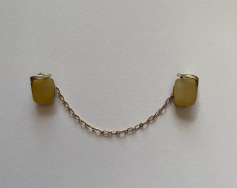 1960/'s Vintage Sweater Clip Gold Tone Chain Copper Metallic Flecked Stones
