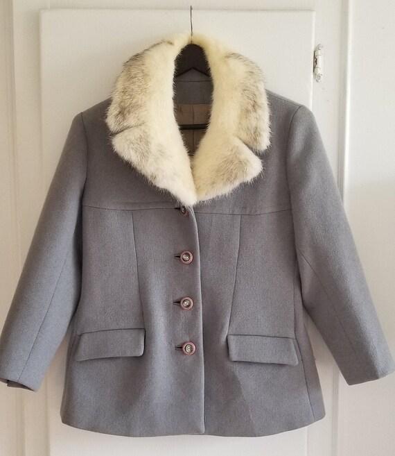 Vintage White Mink Fur Collar Wool Jacket  Steel B