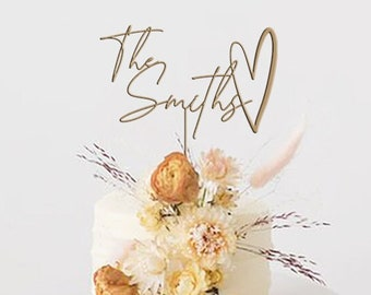 Personalized Wedding Cake Topper / Custom Script Cake Toppers for Wedding / Rustic Wedding Cake Topper / Anniversary Cake Topper  - by TOA