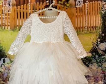 Baby White Long Sleeve  Tutu lace Dress