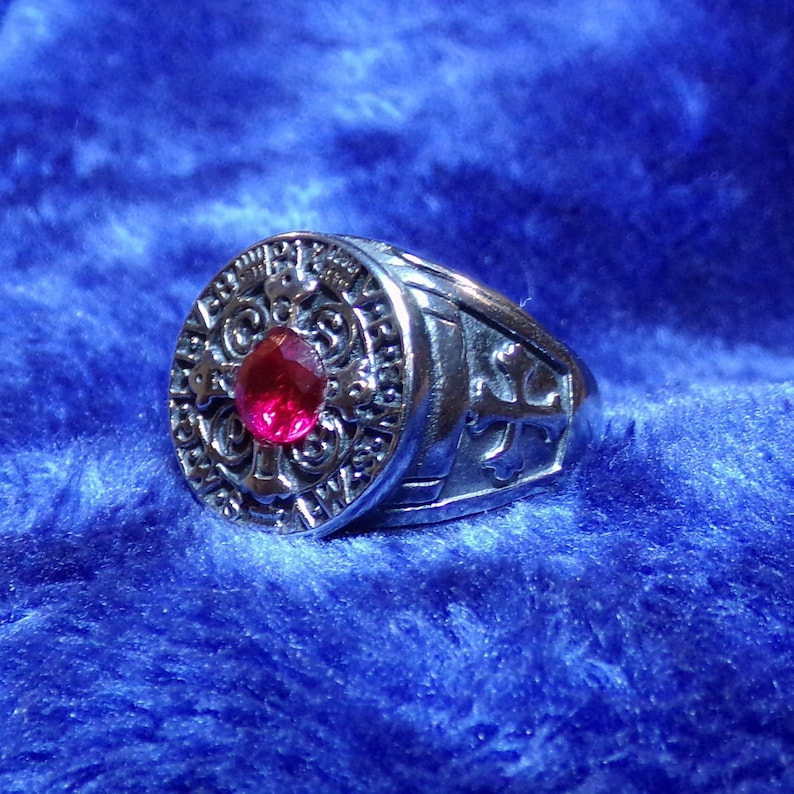 Stainless Steel With Lab-Sapphire Medal Of Saint Benedict Ring