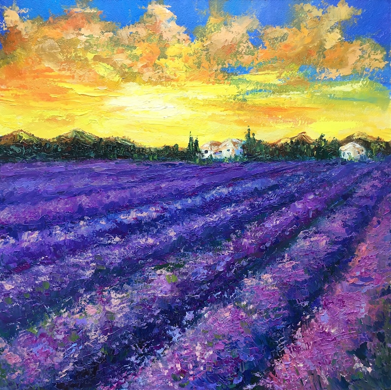 Provence lavender fields painting Provence landscape original oil painting Provence lavender plants landscape wall art impasto art by Alla