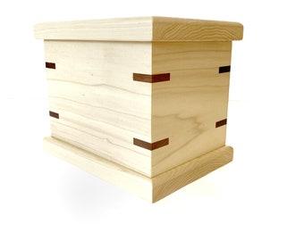 Handmade wooden keepsake box loose fit oil finish centerpiece square box made of poplar wood unique