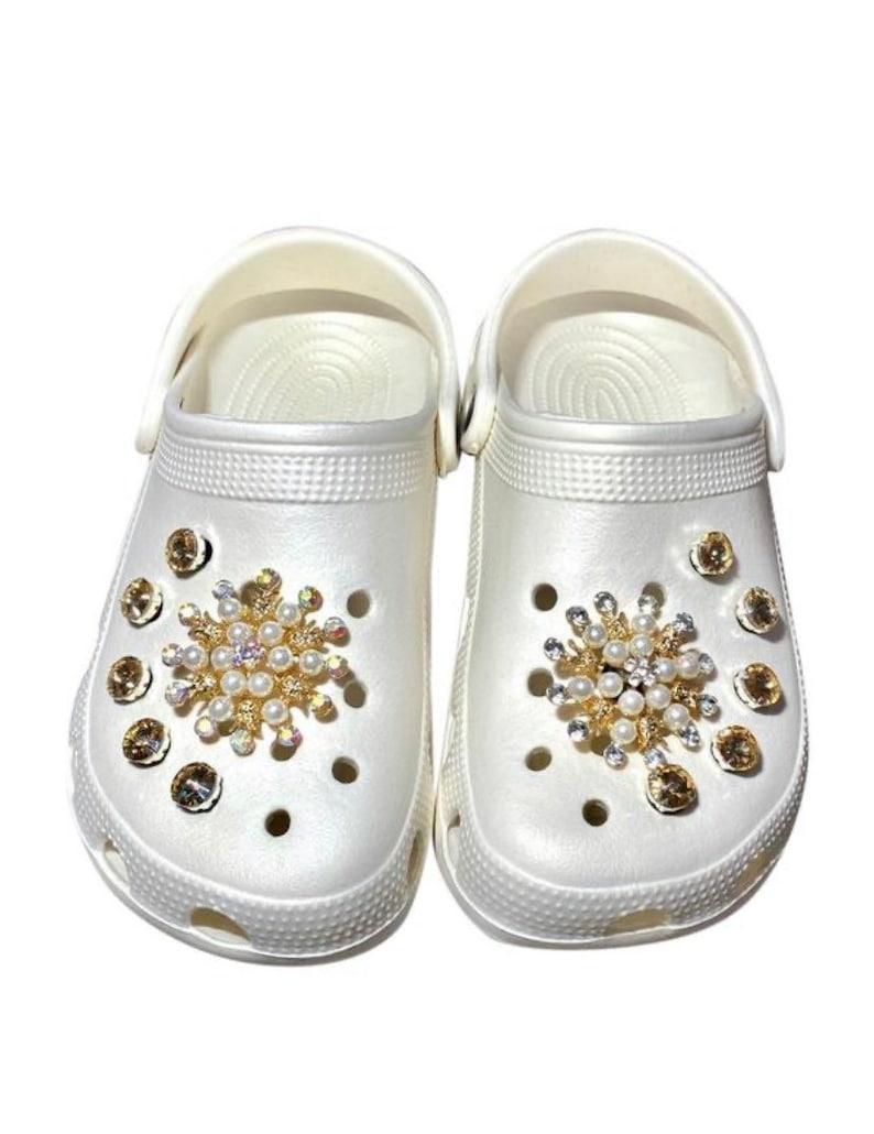 Crocs Charm High Quality Pearl with  Crystal Sunny Flower Shape