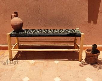 Moroccan wooden bench, Handmade bench, woven bench made of Macrame , wood bench, entryway bench,boho bench, Natural stool, moroccan decor.