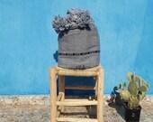 Moroccan Pom Pom Blankets, Throw Blankets, Boho moroccan bedding, cotton blankets,berber moroccan decor,Handmade Blankets