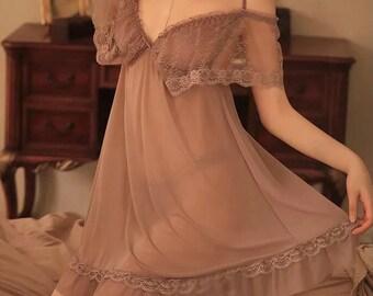 Damen Nachthemd CHANTAL PUSH UP Nachtkleid Stickerei Nachtwäsche Spitze