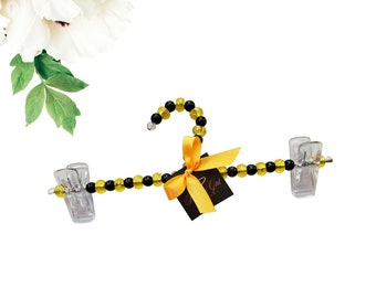 3  Black Pearl And Gold Bead Hanger| Greek Paraphernalia| Divine Nine| HBCU| Groom| Wedding| Bridesmaids| Bachelorette| Bridal|Mother's Day