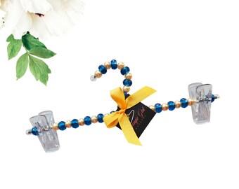 3  Gold Pearl And Blue Bead Hanger| Sorority| Greek Para| HBCU| Divine Nine| Wedding| Bridesmaids |Bride| Bachelorette| Gift Ideas