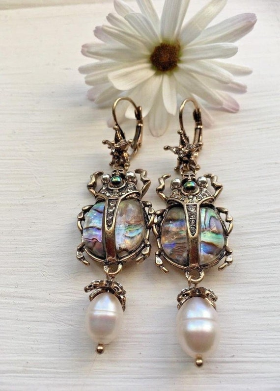 Alexander McQueen Mother of Pearl Scarab Earrings