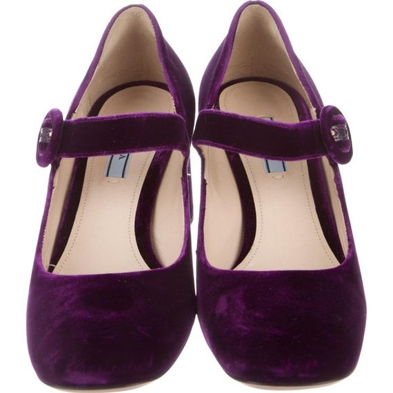 Prada Purple Velvet Mary Jane Shoes, Size 8.5 NWOT