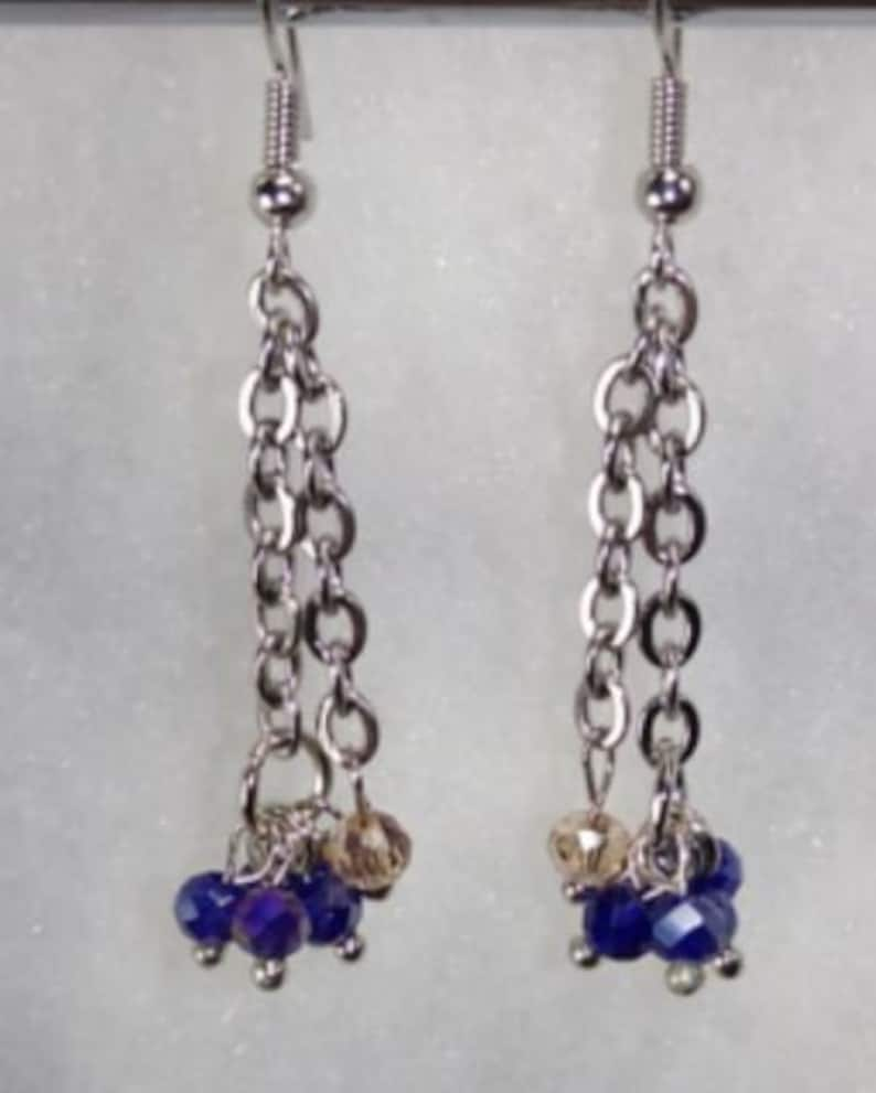 blue beads with champagne accent bead Earrings Lightweight made with nickel freehypoallergenic hooks.
