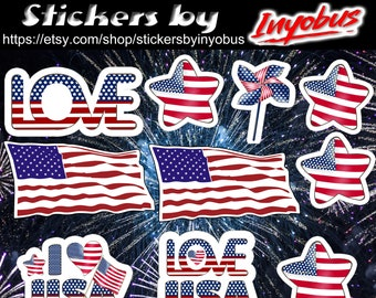 American Flag Stickers!  Patriotic USA  Stickers, Waterproof Vinyl or Photo paper Stickers, Set of 10.  United States Stickers.