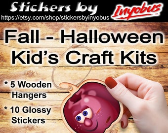 DiY Craft Kit | Wooden Fall or Halloween Hanger Kit |  Kit of 5 ornaments & 10 glossy stickers. Your kids will love these ornaments.