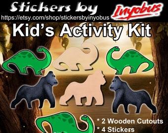 DIY Craft Kit | Kid's Craft Kit |  Dinosaur and Gorilla Wooden Cutout, and 4 Glossy Dinosaur and Gorilla Stickers