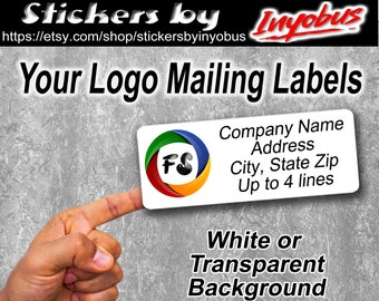 Buy 2 Get One Free ! Your Logo on Business Address Return Mailing label | White or Transparent | Custom Logo Stickers