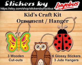 Wooden Kid's Craft Kit.  Inluded are butterfly, laydbug, and owl stickers. Your kids will love these ornaments/hangers.