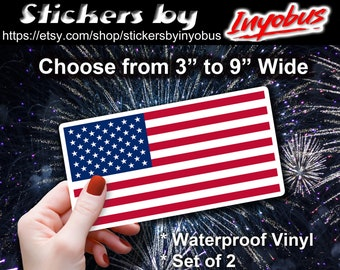 American Flag Waterproof Vinyl Sticker.  USA Flag, package of 2.  Choose size from 3 in to 9 inch wide.
