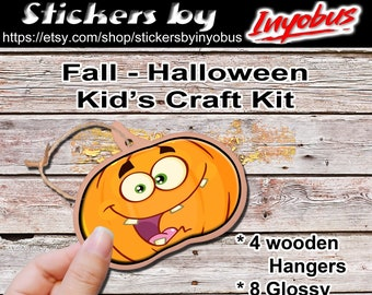 Wooden Fall or Halloween Hanger Kit.  Kit of 4 ornaments & 8 glossy stickers. Your kids will love these ornaments.