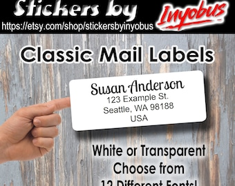 Minimalist return address labels with 12 font choices Buy 2 Get one FREE