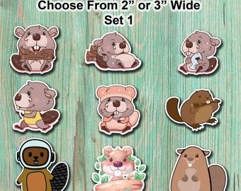 Animal Beaver Stickers | Cute Animal Stickers | Kawaii Beaver Stickers | Cute Sticker Pack | Waterproof Animal Stickers | Die Cut Stickers