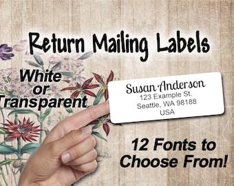 Buy 2 Get One Free | Minimalist White Address Labels | Transparent Custom Return Mailing Labels | Basic Address Labels