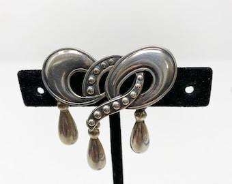 5740 217 Vintage Margot de Taxco silver teardrop dangle pin  brooch