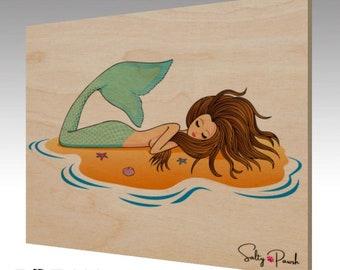Salty Pawsh Mermaid Wood Art Print