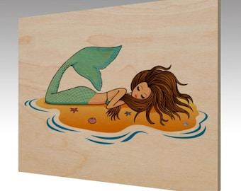 Mermaid Wood Art Print