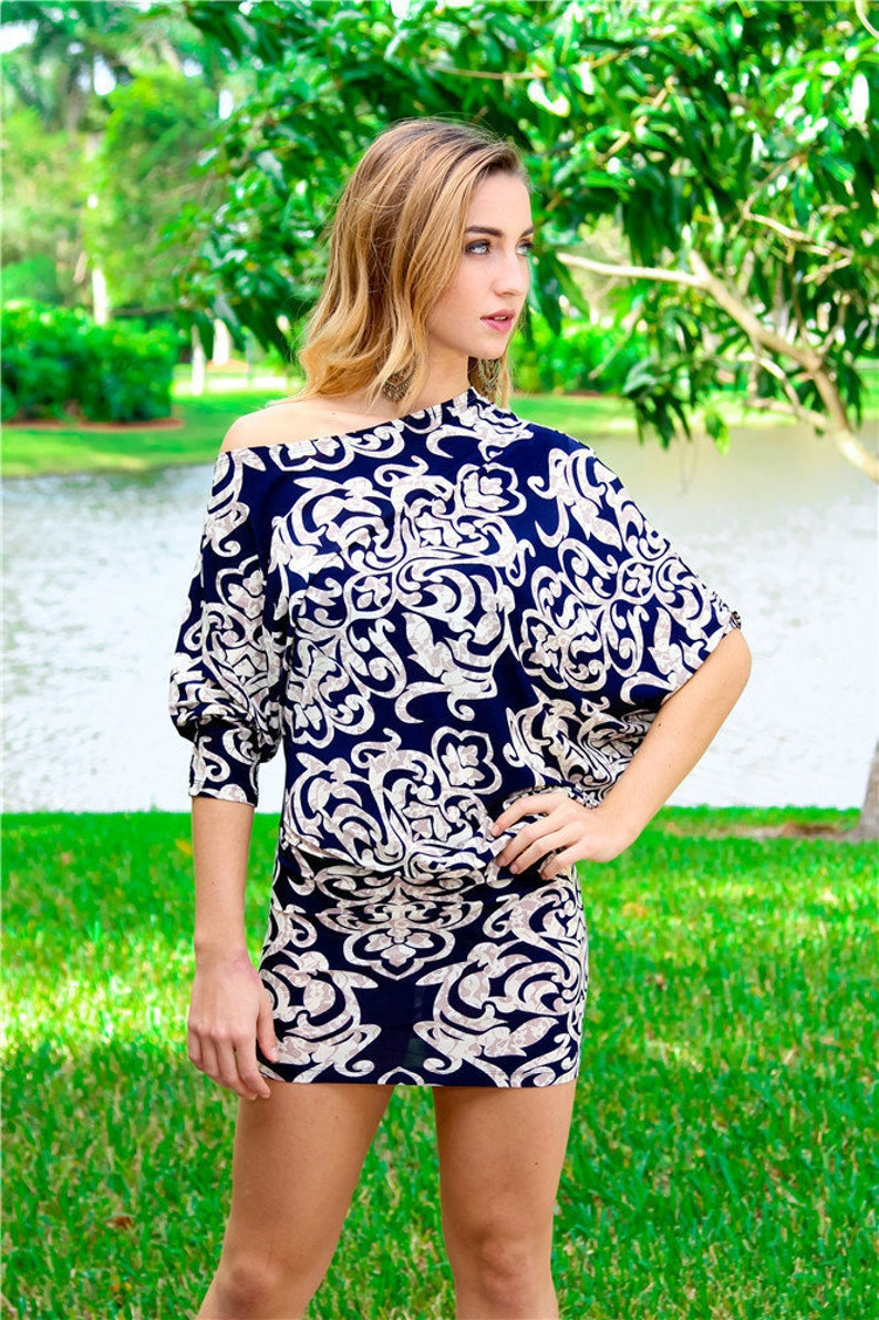 Womens Tunic Top|Asymmetrical Tunic|Blouse|Boho|Resort Wear|Drape Sleeves With Ruched Side|Blue Tunic Top