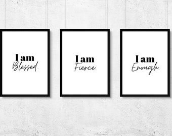 3 Piece Motivational Wall Art / Positive Affirmations / Self Care Decor / Printable Quote / 5x7 • 8x10 • 11x14• PNG • PDF / Instant Download