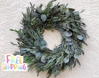 15 or 18in Preserved Eucalyptus Wreath, For Door Wreath, Eucalyptus Wreath, Spring Wreath, Eucalyptus Wall Decor, Silver Dollar Eucalyptus,