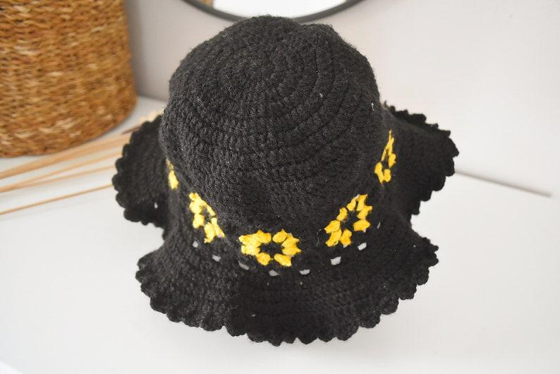 Flower Fisherman Beanie Woven Cotton Hat Cute Summer Beach Sun Cap Crochet Daisy Bucket Hat