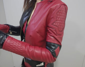 2021 The Suicide Squad Harley Quinn Cosplay Costume Full Set Pu Leather Suit