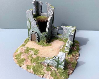 Painted scenery ready to play Overgrown medieval ruins (miniatures games, wargames, role-playing games. AoS, warhammer, 40k, Sda)