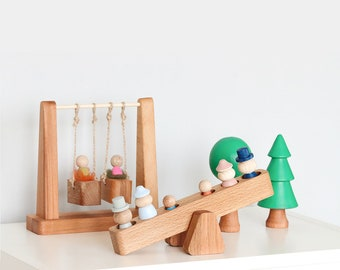 Linka Playground, swing set, wooden toys, peg dolls, waldorf, eco friendly toy, wooden trees, seesaw, wooden playground, fairy, open ended