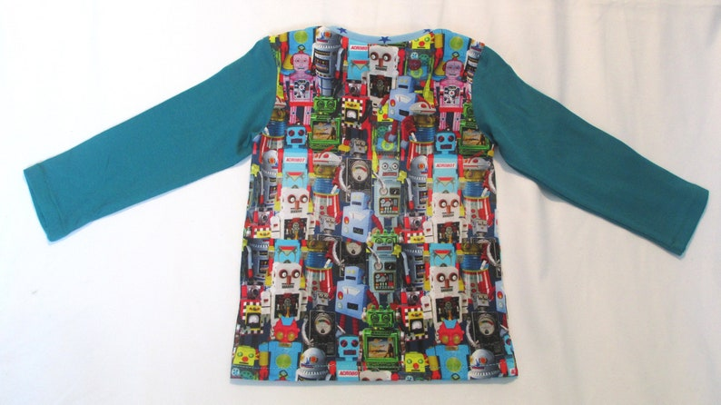 Long sleeve shirt kids shirt colorful robotter sweater made of cotton jersey handmade with love. sweater