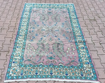 Turkish Handmade Boho decor Wool Rug Turkish Pastel Oushak Rug Oversized Turkish Vintage Area Rug 9.2x5.7 ft Faded Colors Anatolian Rug
