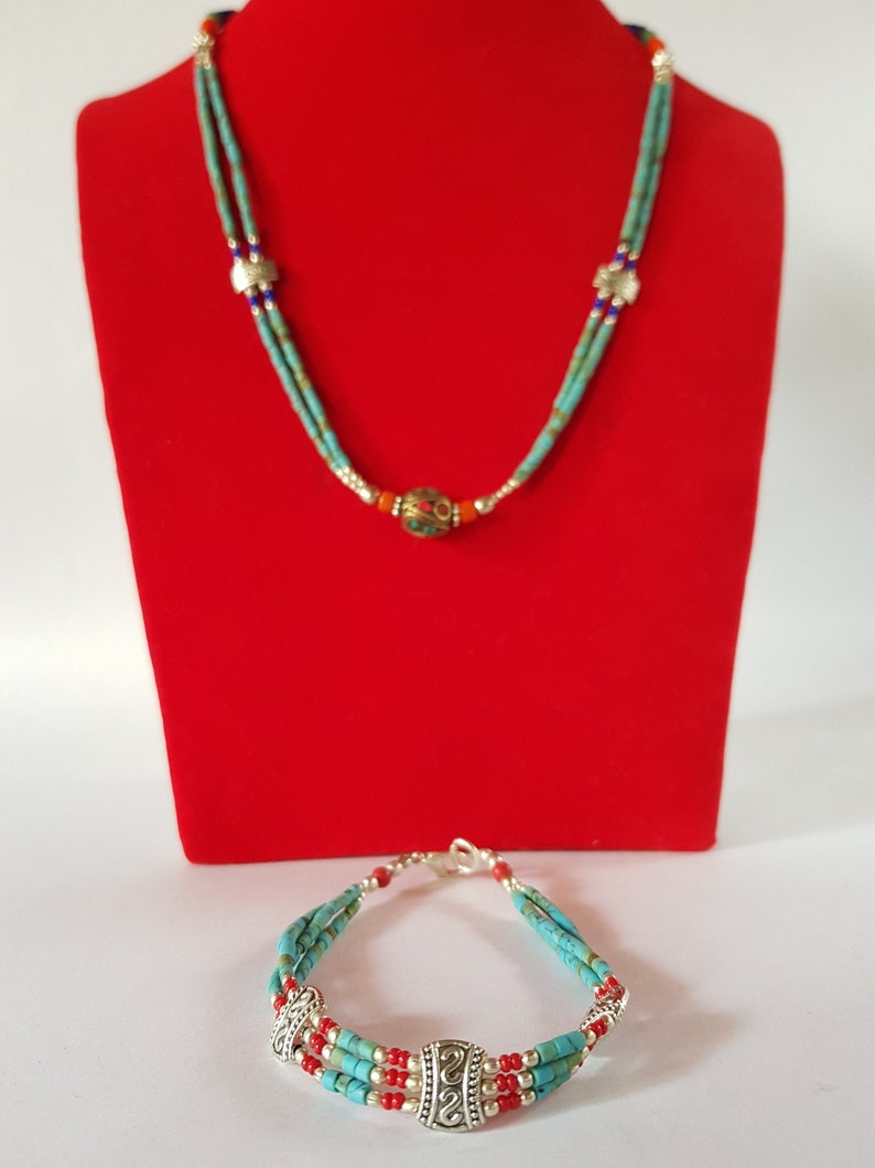 Turquoise and Coral necklace and Bracelet Lapis Necklace and Bracelet from Himalayan Traditional Ethnic Handmade 4 Combo-Turquoise,Coral