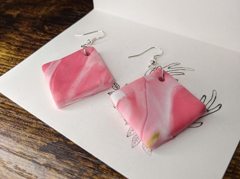 Marbled pink diamond drop earrings