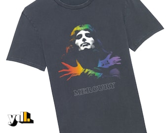Freddie Mercury Bohemian Rhapsody T-Shirt. The iconic image of the rock legend with a beautiful rainbow color. Music lover or musician gift.