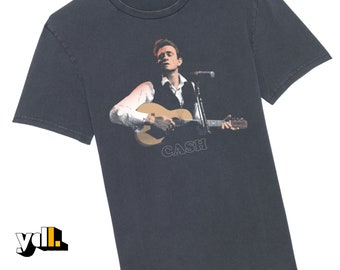 Johnny Cash tshirt. G-Dyed Vintage Style. 60s hay day, just a guitar and that voice. Musician and guitarist gift. Country rock lover gift.