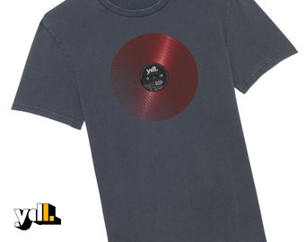Vinyl Record T shirt. Block rockin' beats & ghetto blaster on the coloured album label. Perfect gift for old skool DJs, cool retro for teens