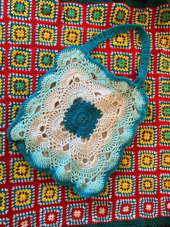 Vintage  Crochet wool Boho shoulder bag tote. Hand