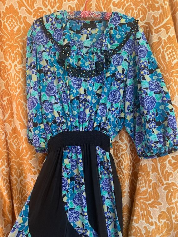 70s/80s floral ruffle party dress Diane Freis styl