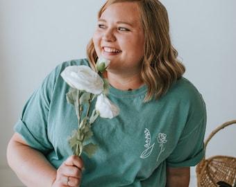 Plus Size Birth Month Flower Shirt | Birth Flower Shirt Women | Flower Tee Shirt | Flower Tshirt | Customized with Your Birth Month