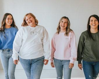 Plus Size Birth Month Flower Sweatshirt | Birth Flower Gift for Her | Flower Sweatshirt | Choose from 4 Colors | Birth Flower Sweatshirt